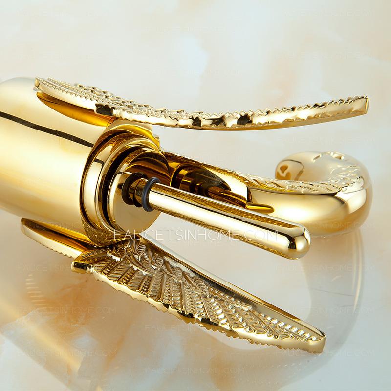 luxury gold swan design vessel bathroom sink faucet ftsih150422100341