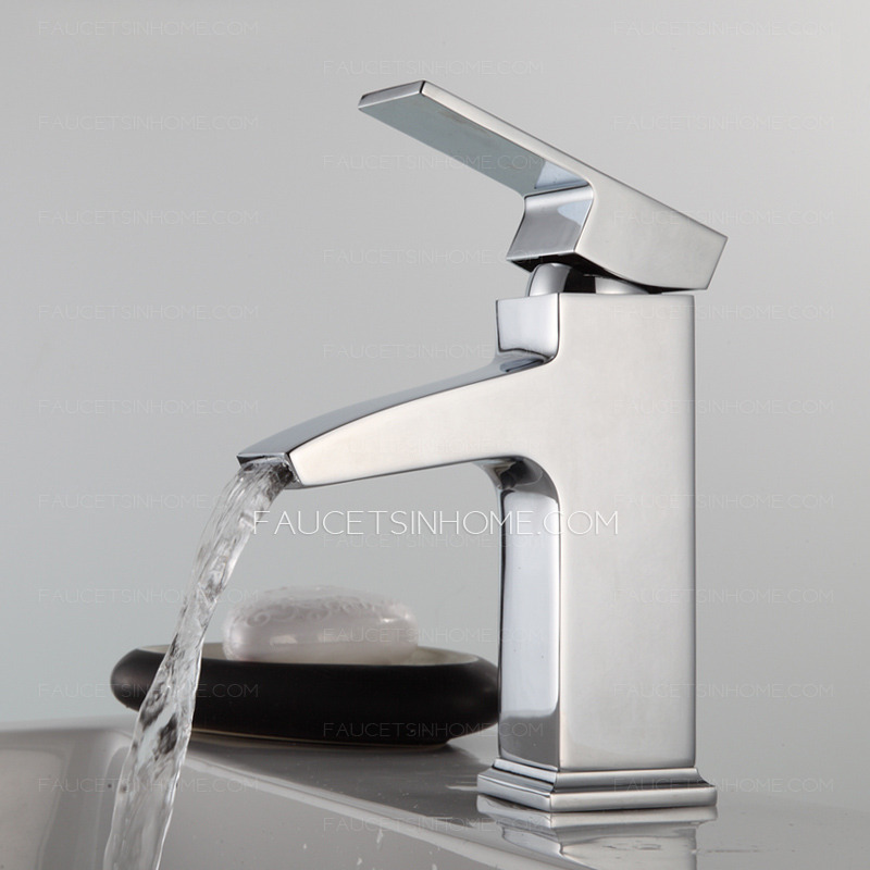 Modern Square Shaped Waterfall Single Handle Bathroom Faucet