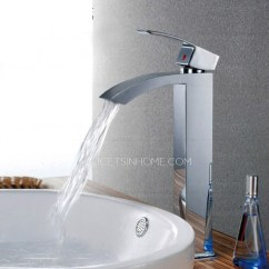 Single Handle Kitchen Faucets Best Rugs For Cheap Waterfall Flat Tall Vessel Mount Bathroom Sink Faucet