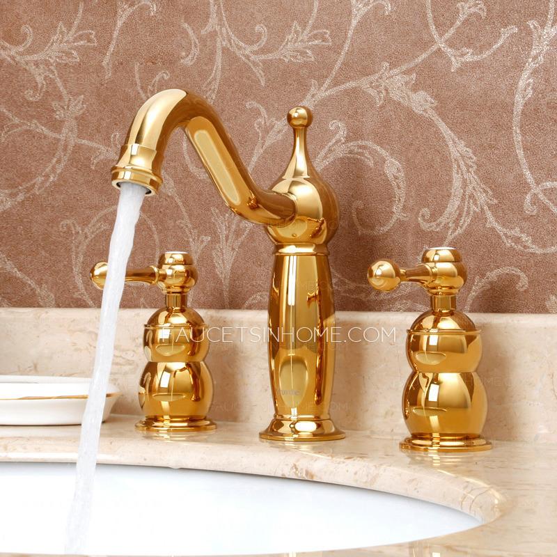 Antique Rose Gold Brass Three Hole Split Bathroom Faucet