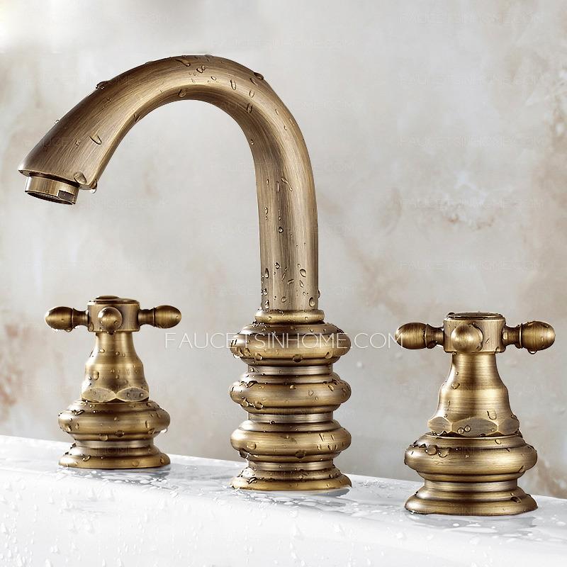 Vintage Brushed Copper Three Hole Bathroom Sink Faucet