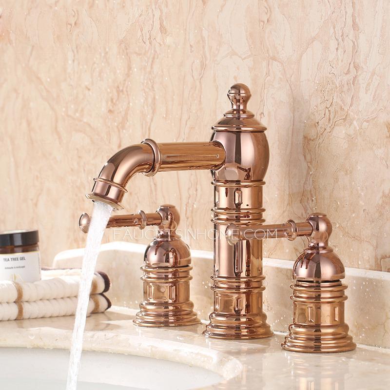 high end rose gold three hole bathroom sink faucet ftsih150505083910