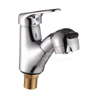 Unique Pull Out Copper Bathroom Faucet With Shower Water
