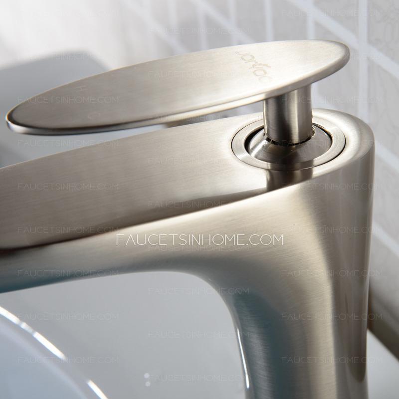 single kitchen faucet plates modern brushed nickel copper handle bathroom sink ...