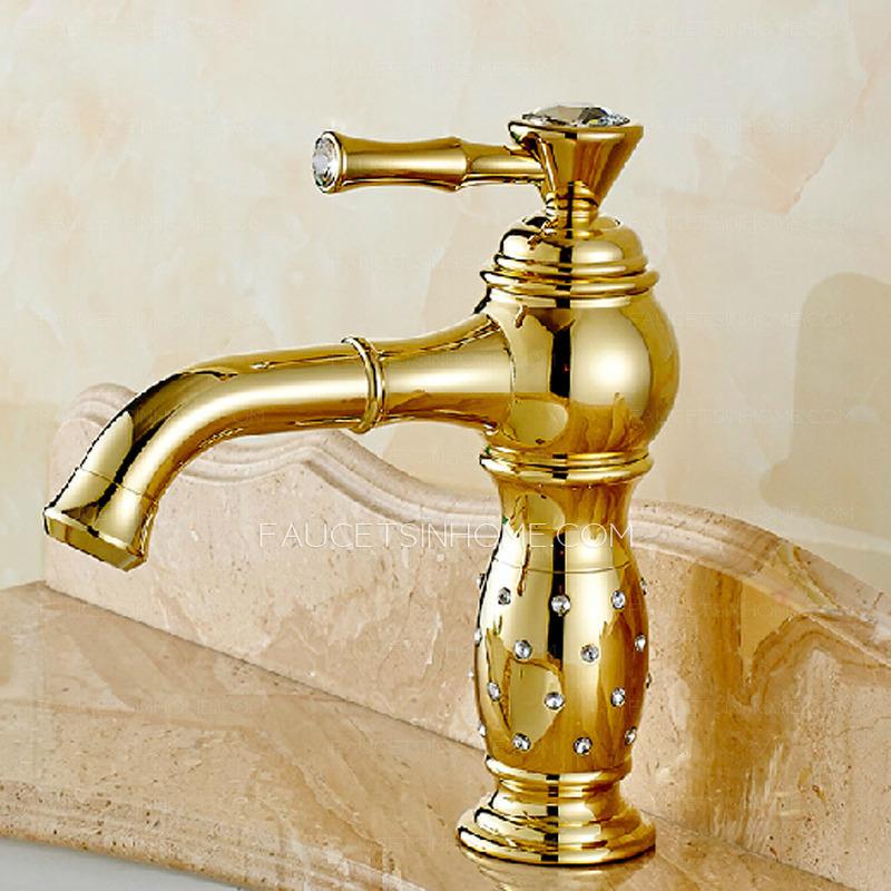 Luxury Golden Rotatable Brass Bathroom Sink Faucet Single