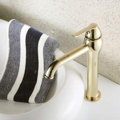Single Handle Kitchen Faucet Sink Clog Heightening Gold Polished Brass Bathroom For Vessel ...