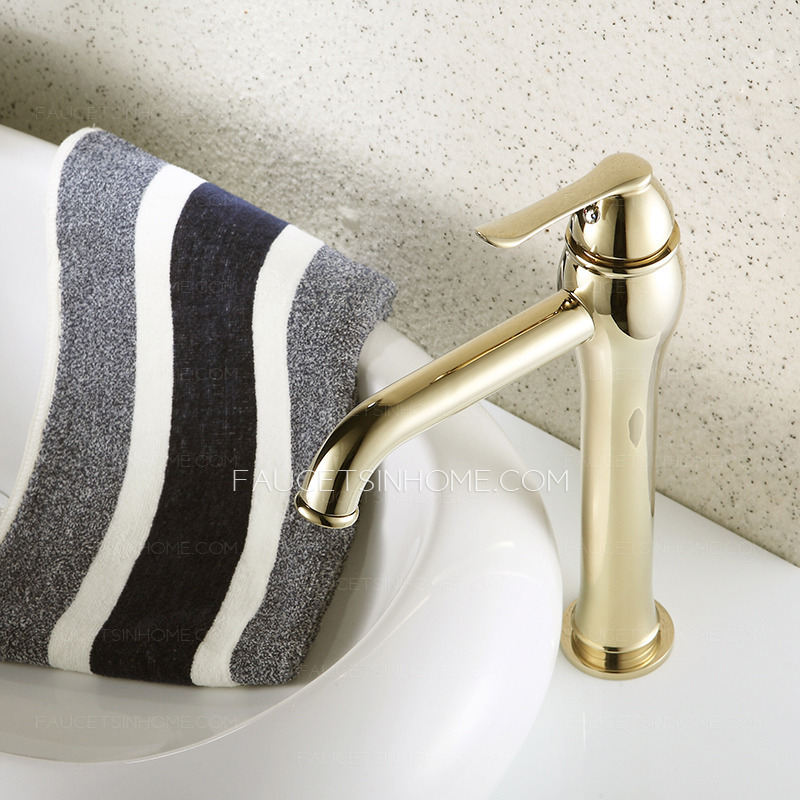 single handle kitchen faucet gift baskets heightening gold polished brass bathroom for vessel ...