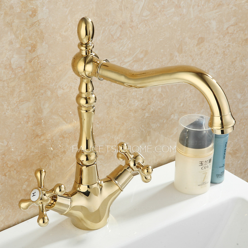 vintage golden polished brass lengthen spout bathroom faucet two