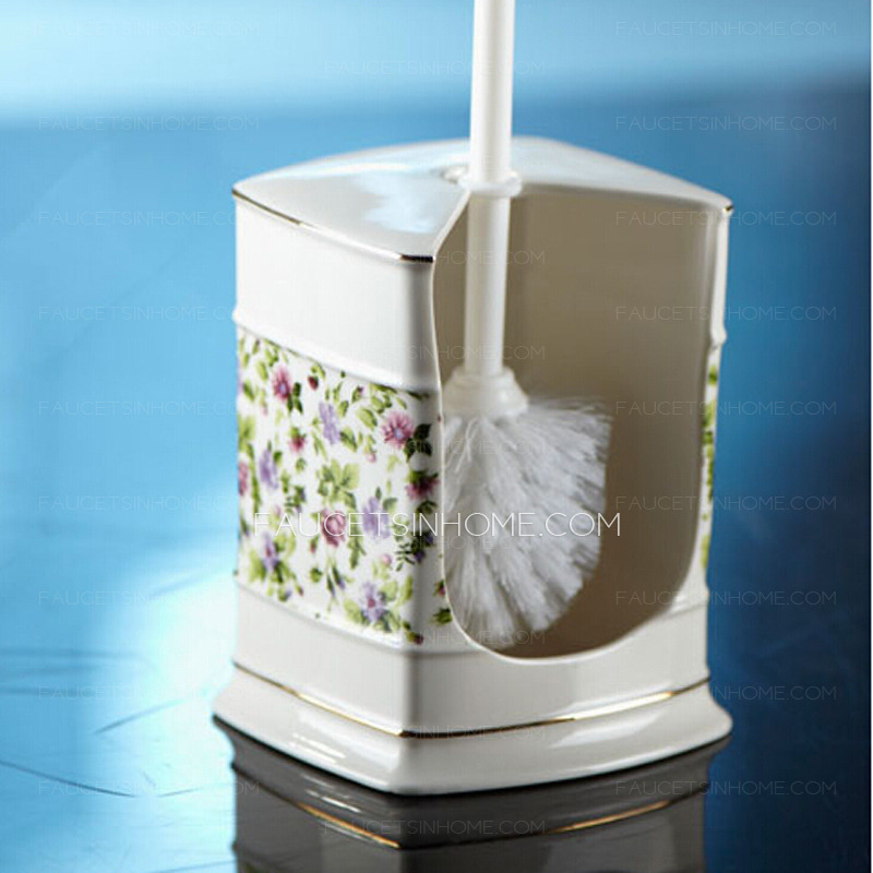 Fresh Purple Floral Patterned Lighthouse Porcelain Toilet