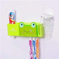 Cute Green Frog Kids Suction Cup Toothbrush Holder