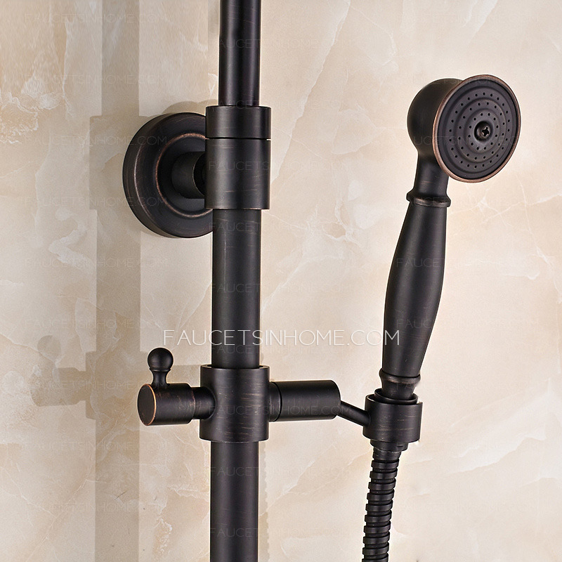 Black Oil Rubbed Bronze Crosss Handle Exposed Shower Faucet