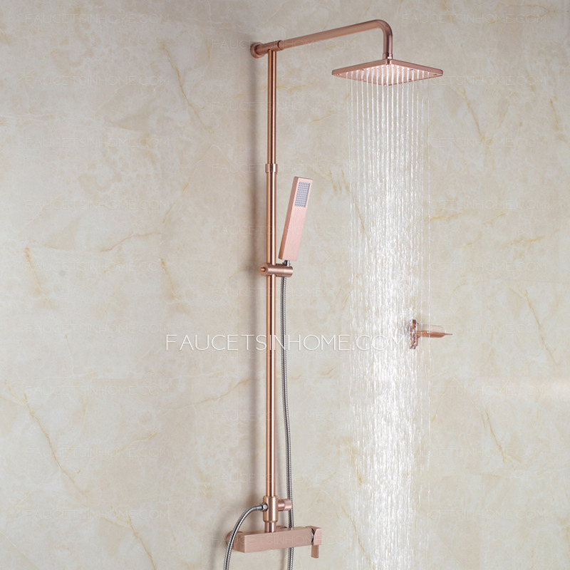 Designer Champagne Gold Exposed Rain Shower Faucets System