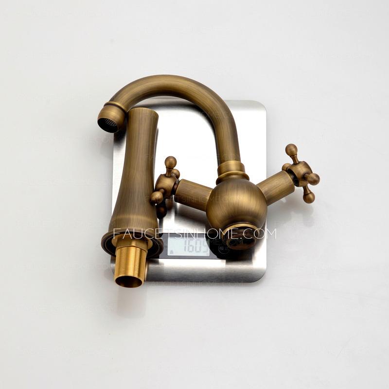 vintage heightening antique brass bathroom faucet vessel mount fth9294