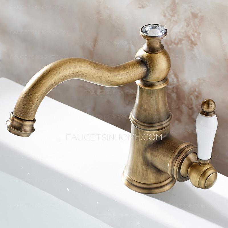 Single Hole Antique Brass Porcelain Handle Bathroom Faucets