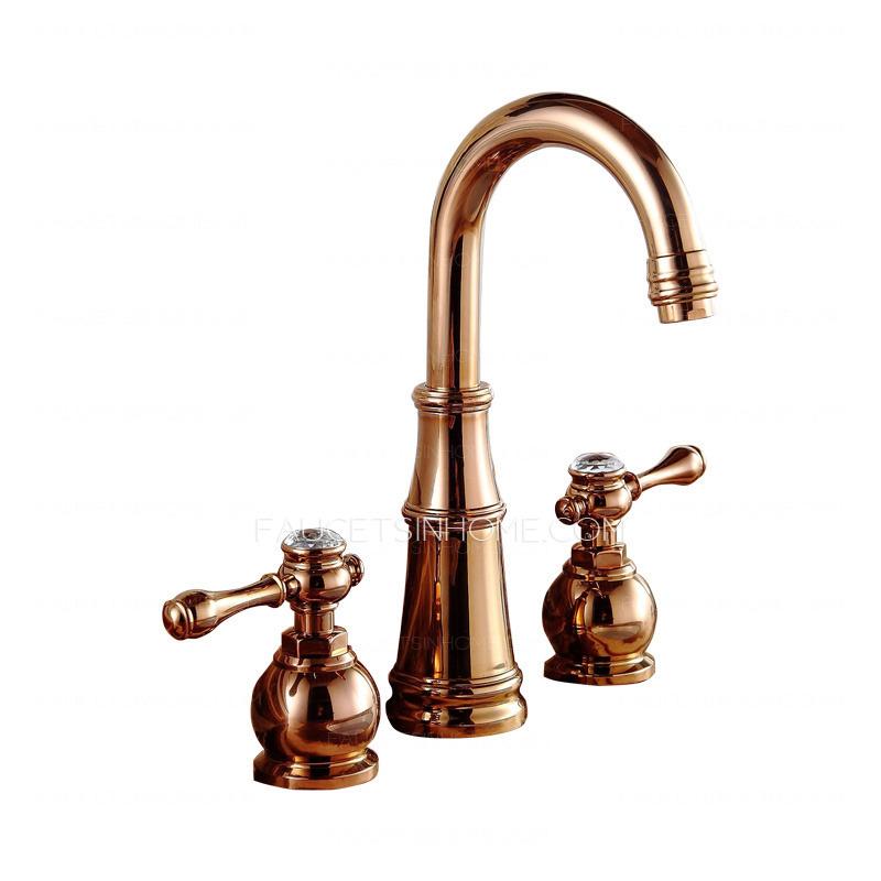 best rose gold three hole vintage bathroom sink faucets fth9332