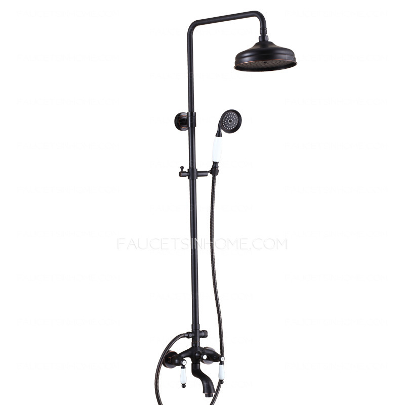 antique oil rubbed bronze black two handle outdoor shower faucets fth10607