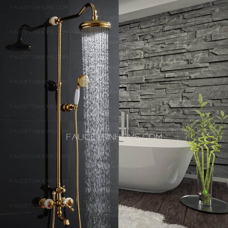 Unique Rose Gold Jade Brass Outside Bathroom Shower Faucets