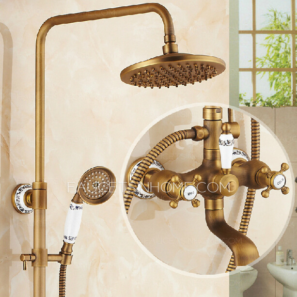 Antique Brass Ceramic Brushed Top And Hand Shower Faucets