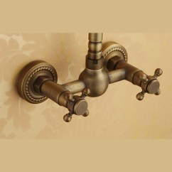 Kitchen Towel Hooks Decorative Remodel Affordable Antique Brass Two Hole Wall Mount Faucets