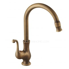 Two Handle Kitchen Faucet Narrow Sink Antique Brass 360 Rotate Faucets Vessel Mount