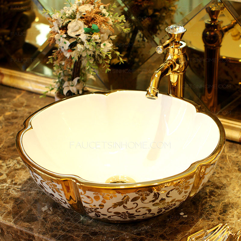 Gold Vessel Sink Luxury Ceramic Hot Stamping Floral