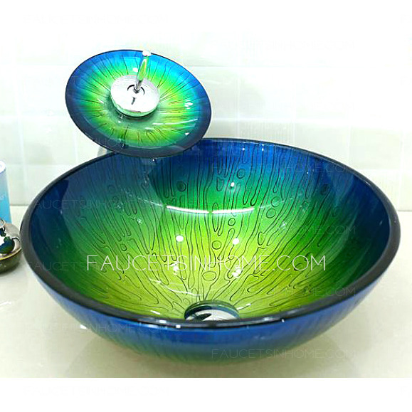 Glass Vessel Sinks Blue and Green Mediterranean Faucet
