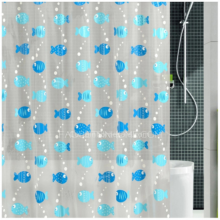 Stylish Blue Color Animal Print Fish Pattern PEVA Shower
