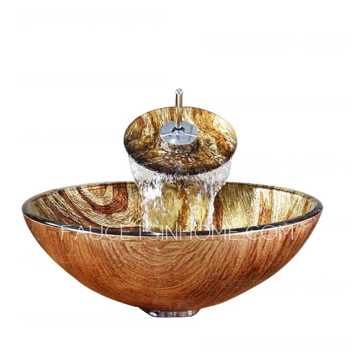 brown glass basin sink single round bowl with faucet pattern fth1608161637153