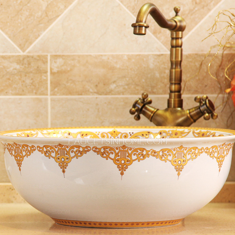 single kitchen faucet outside kitchens golden and white ceramic round bath sinks bowl antique