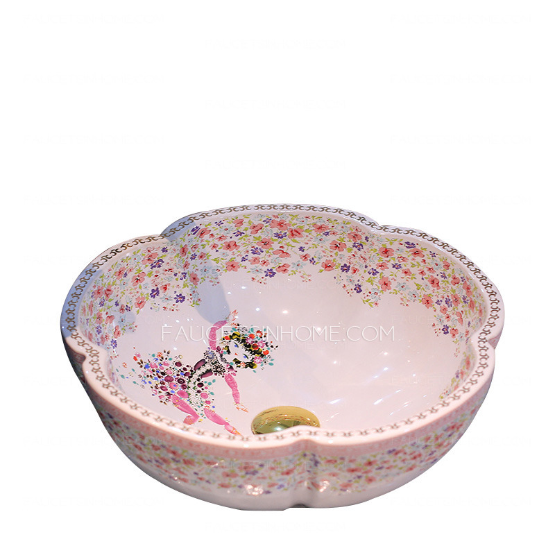 White Flower Shaped Porcelain Bath Basins Floral Painting Single Bowl