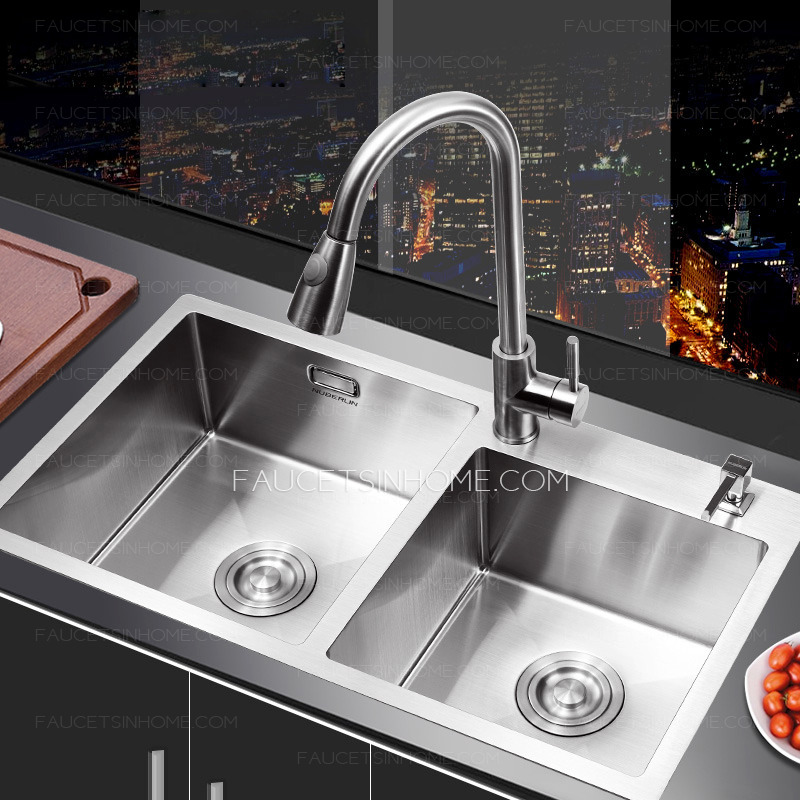 Nickel Brushed Stainless Steel Kitchen Sinks Double Bowls
