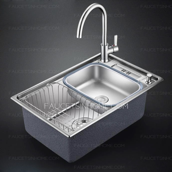 Nickel Brushed Single Bowl Stainless Steel With Faucet