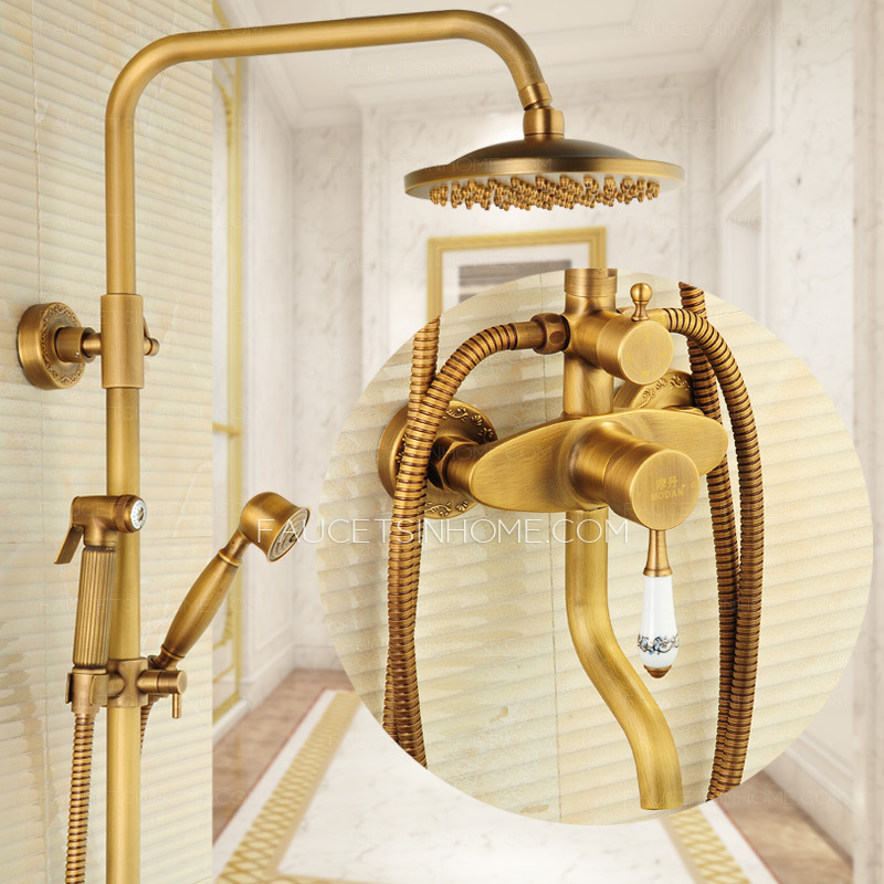 Antique Brass Wall Mounted Outdoor Shower faucet With Bidet