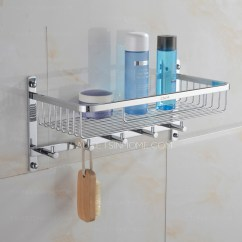 High End Kitchen Sinks Pantry Cupboard Brass Bathroom Hanging Shelf With Five Hooks Chrome Finish