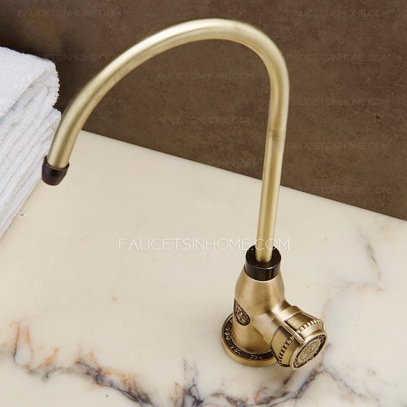 High End Antique Chrome Finish Bathroom Long Neck Faucet