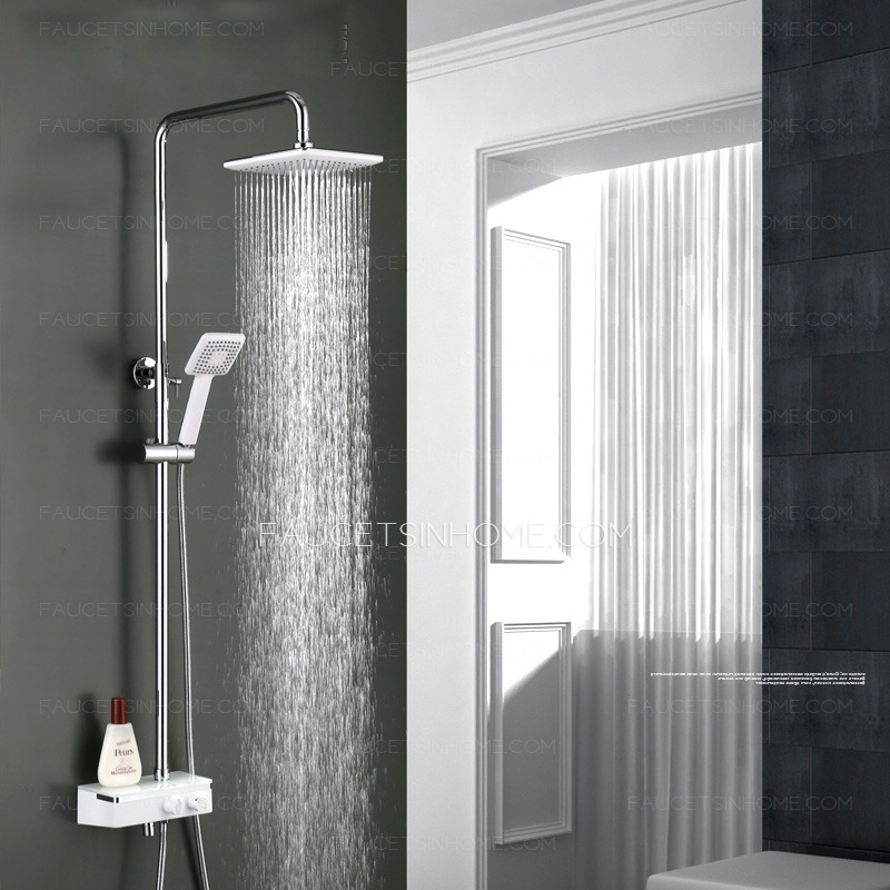 Modern Chrome Stainless Steel Rain Shower System With Handheld Shower