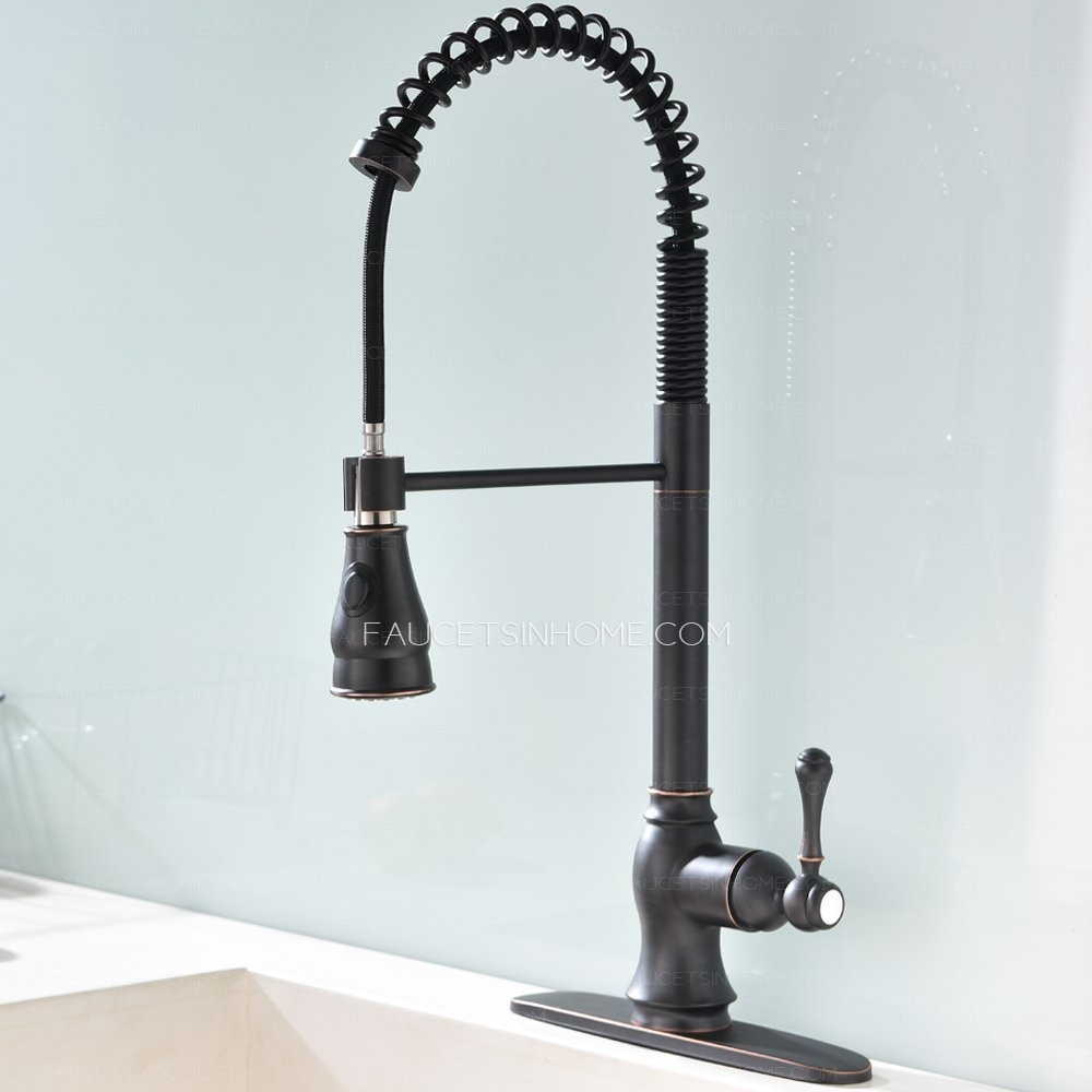 Oil Rubbed Bronze Spring Pull Out Kitchen Faucet With Sprayer