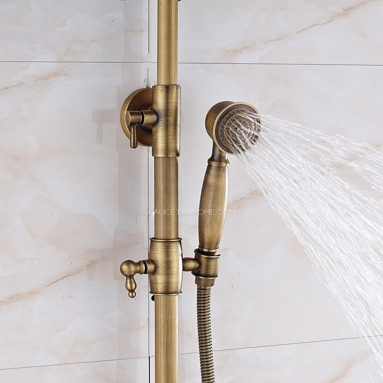 Antique Brass Rainfall Shower Faucet Brushed Gold Shower Head