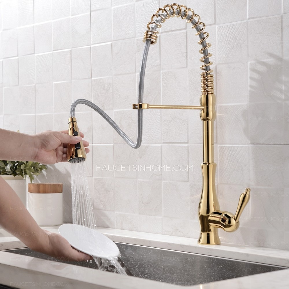Polished Gold Single Handle Spring Kitchen Sink Faucet Pull Down Sprayer