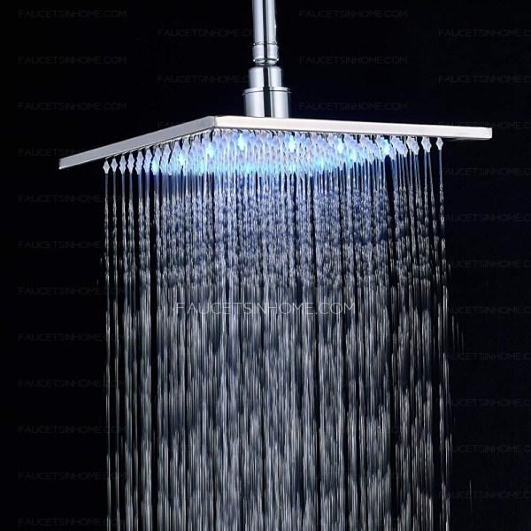 Square Chrome Shower Faucet Kit 10- Rainfall Head Led Light Overhead Sprayer