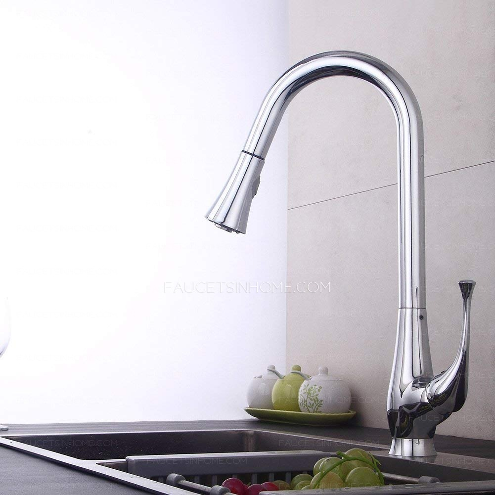 discount pull down gooseneck kitchen faucet pull out pre rinse bar sink fth1811201149198