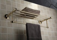 Golden Brass Wall-mounted Bathroom Shelf With Towel Bar ...