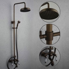 Antique Brass Tub Shower faucet with 8 inch Shower Head + Hand Shower FSA009