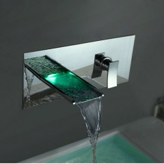 Color Changing LED Waterfall Bathroom Sink Faucet (Wall Mount) F8013