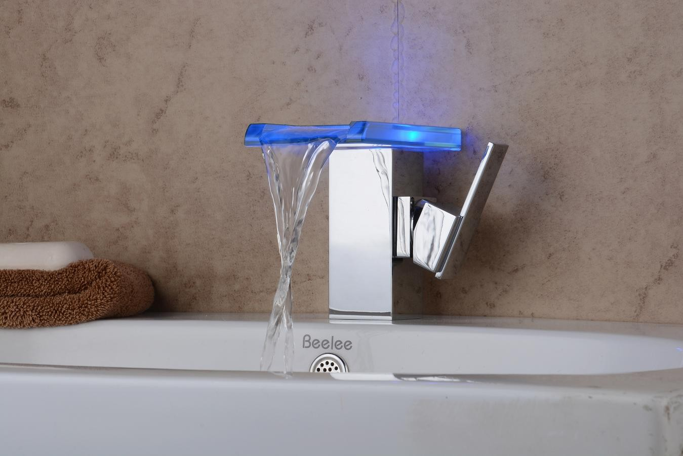 Contemporary Chrome Color Changing LED Bathroom Sink