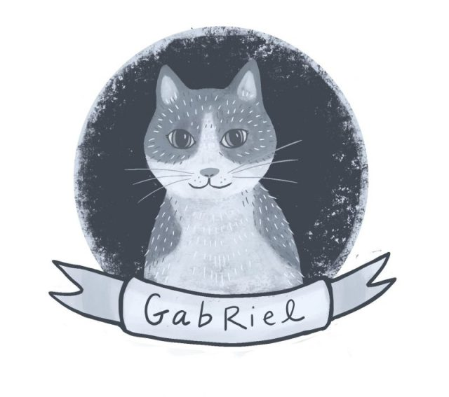 drawing of Gabriel, a white and buff rescue cat