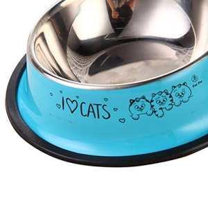 Roblue Bol en Acier Inoxydable pour Chien Chats Animaux Antidérapant Imprimé Multicolore15CM