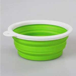 Znyo Couleur Pure White Border Folding Bowl Bol pour Chien en Plein air Portable (Vert)
