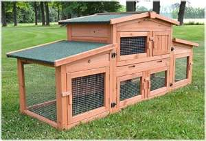 Zooprimus Cage Clapier lapin Extérieur en bois de pin Haute Qualité pour lapins 185x51x75cm – 037