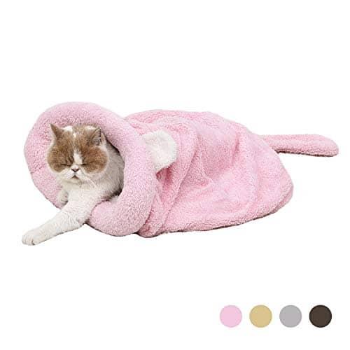 Eono Essentials Chat Sac De Couchage en Molleton Doux Réchauffement De La Chaleur Lavable Lits De Chat Snuggle Sack Couverture Mat Kitty Sack Convient Chat Chiot Rose